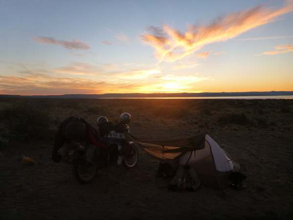 Sunset at our campsite on the way to el Chaltén