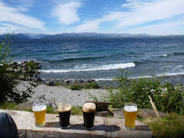 Beer on the beach in Bariloche.