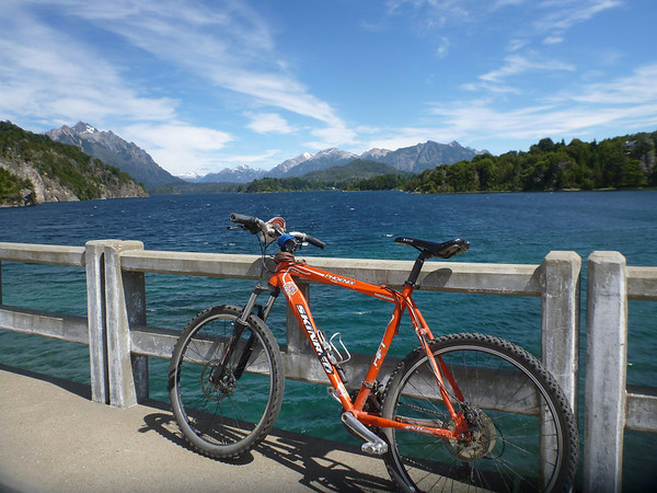 Biking the Circuito Chico in Bariloche.