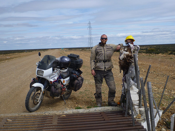 Mike with a creepy guy on the way to Puerto Natales.