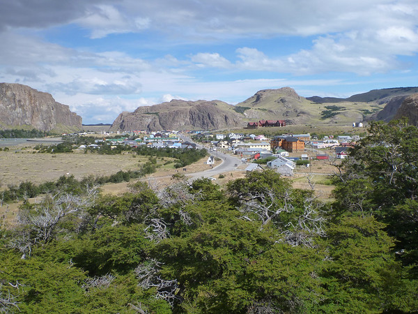 View of el Chaltén from the Tres Lagos hike