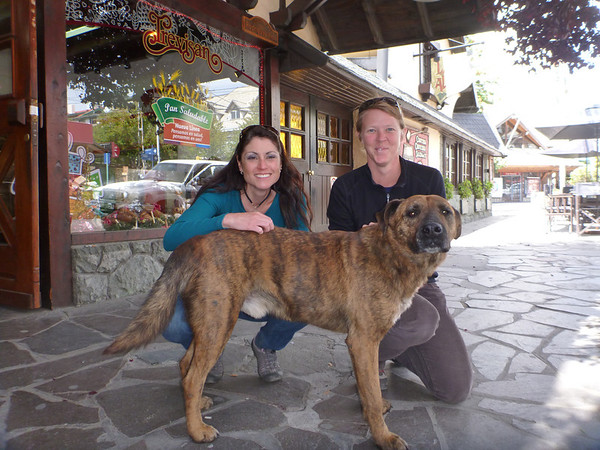Lisa and Jill with Bar Dog in Bariloche.