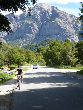 Jill biking the Circuito Chico in Bariloche.