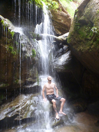 Mike in the waterfall at El Vergel, Torotoro