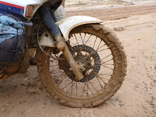 Our tire was just a little muddy after that crossing.