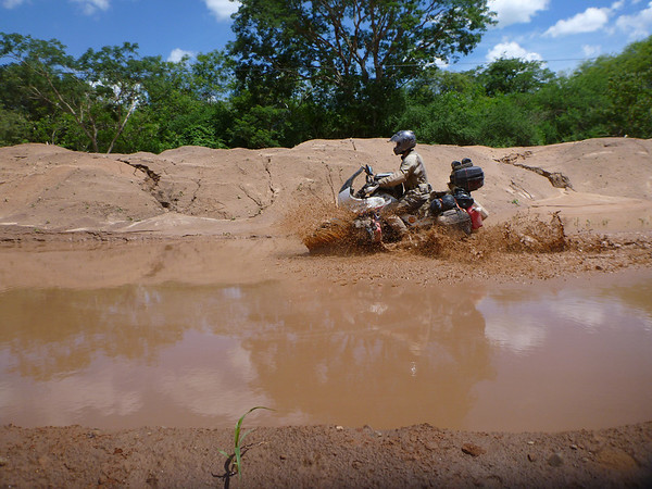 Mike getting through another watery/muddy crossing on the way to the Bolivian border.