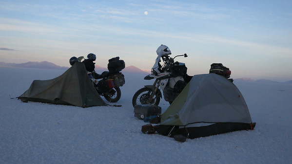 Dawn at camp on the Salar