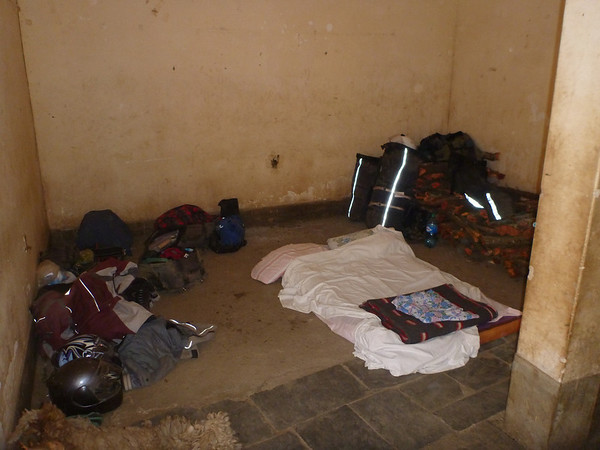Our hotel room in the garage.  Chulumani was having a party that weekend, so the (one) hotel was full
