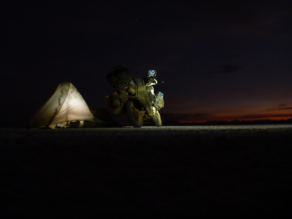 Headlamps in the tent and on the TA