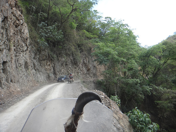 Passing a car in the Yungas region.  The Road of Death isn't the only road that has steep cliffs
