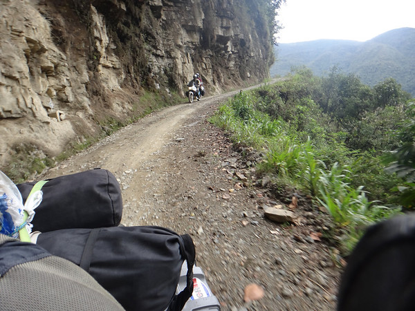 Us riding the Road of Death.  Some of those cliffs were extremely tall.  But the road is actually in quite good shape