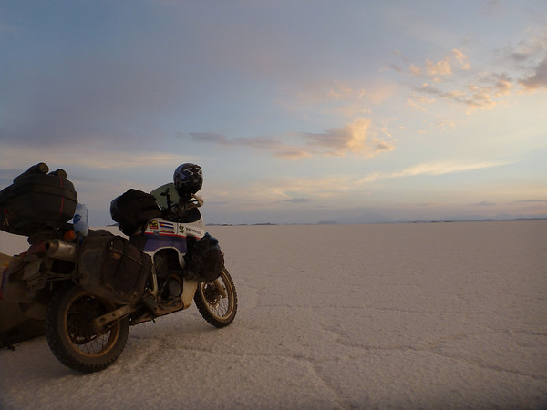 The TA with a setting sun on the Salar