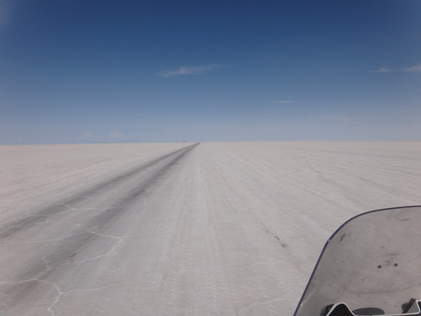 heavily traveled tracks form roads in the Salar