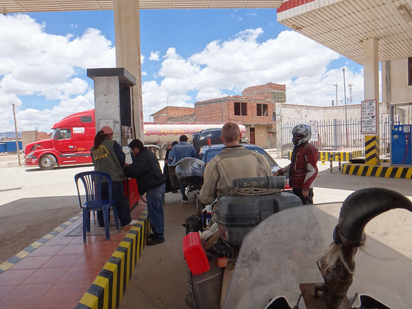 gas stop in Oruro.  The car wouldn't start again and the guy insisted against moving it out of the way to figure it out.  Then drunk people started coming out of the station.  We think they worked there