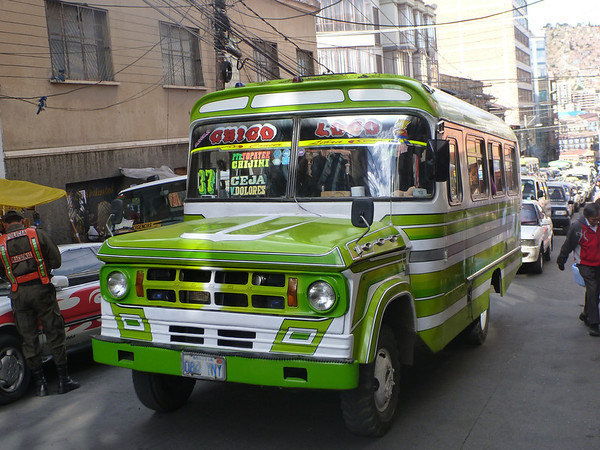 This old school short buses dominate the downtown streets of La Paz.  Except for the day they were on strike.  Then Mike got to dominate the streets (man, it was so nice to run moto errands without traffic!)