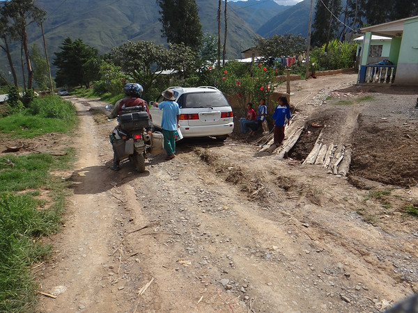 Asking directions in the Yungas region.  The road got pretty small in places