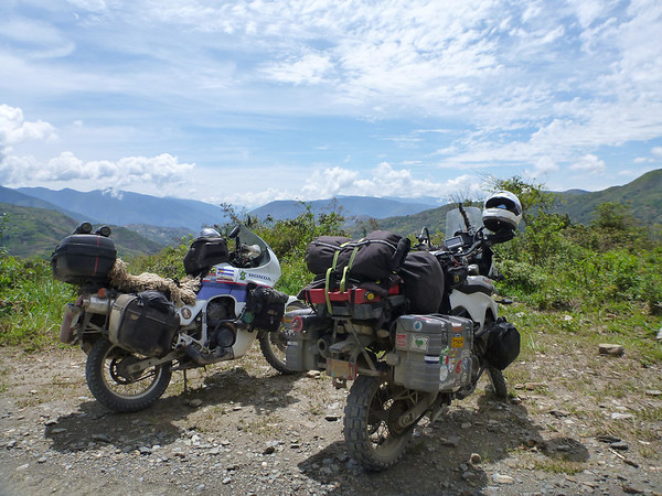 Our bikes taking in the scenic view while at a construction stop outside of Coroico, Yungas region.
