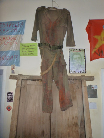 The clothing Che was wearing when he was captured, in the museum in La Higuera.