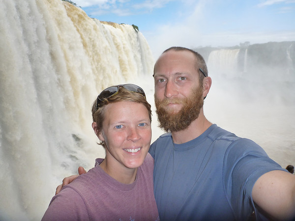 us in front of the falls (and no, this was not photoshopped)  (Foz do Iguassu)