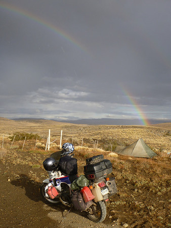 Rainbow over the TA and tent, somewhere between Pto Natales and Tres Lagos