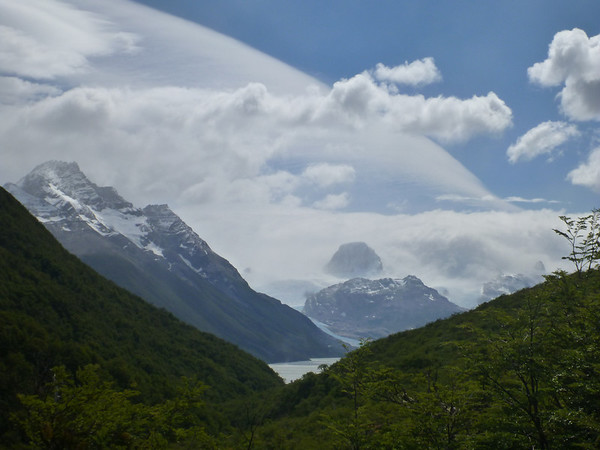 curvy clouds looking back at Lago Dickson, Torres del Paine