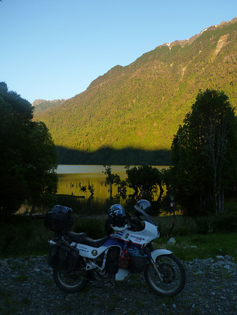 TA in sunset at EcoCamping outside of Puyuhuapi