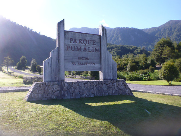 Entry sign, Sector el Amarillo, Parque Pumalín