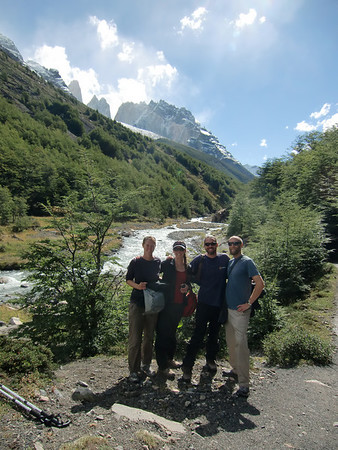 Jill, Christie, David and Mike at Campamento Chileno with the Torres in the background, Torres del Paine