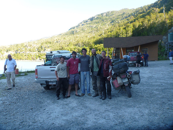 The crazy Porteños on their way to boat to a glacier:  Marcos, Maximo and Matias