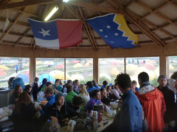 When it's cold and wet outside (which is often) the quincho, or picnic hut, fills up quickly.  Refugio Paine Grande, Torres del Paine.