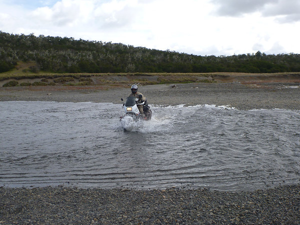 Mike trying to make it to Argentina, Rio Bellavista.  This water was moving pretty fast and shifted the bike around a bit.  Thankfully it was low.