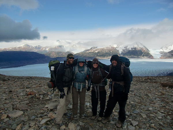 Mike, Jill, Christie and David on top of Paso John Gardner, Torres del Paine
