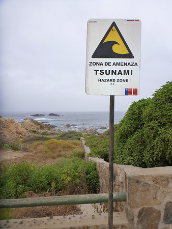 Tsunami hazard zone at the beach in Pichidangui.