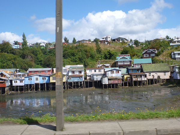 Palofitos on our way back out of Castro, Chiloé