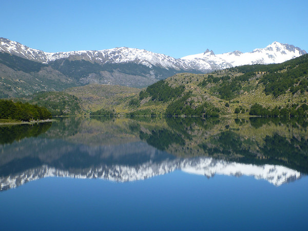 Perfect reflection in Lago Tranquilo, Valle Exploradores