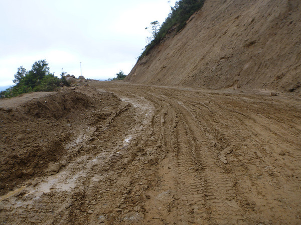 Mud hole construction zone on the way to Zumba, south of Loja