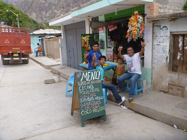 Some guys having a good time on a Sunday on the way to Cajamarca, Peru