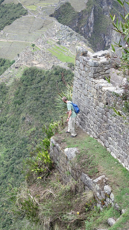 Huaynu Picchu is situated over a very steep, very tall cliff face.  Mike walked no further