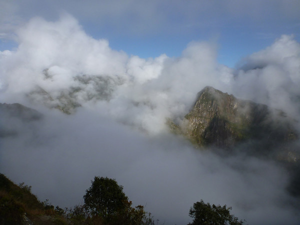 Clouds lifting in Machu Picchu