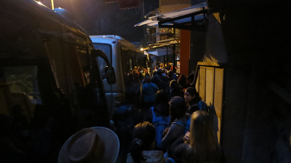 Already a decent line at 5am in Aguas Calientes, waiting for the short bus ride up to Machu Picchu entrance