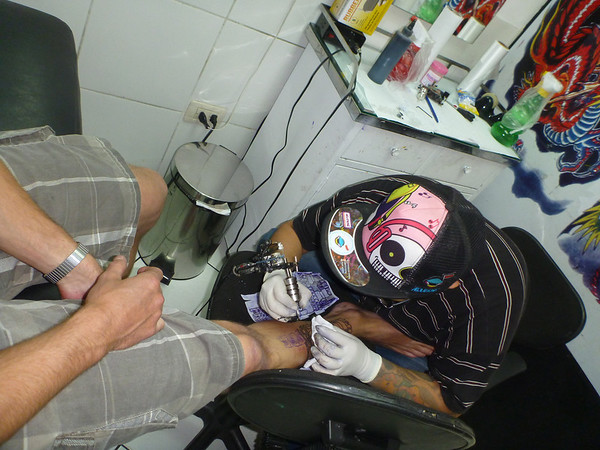Mike getting a tattoo in Lima