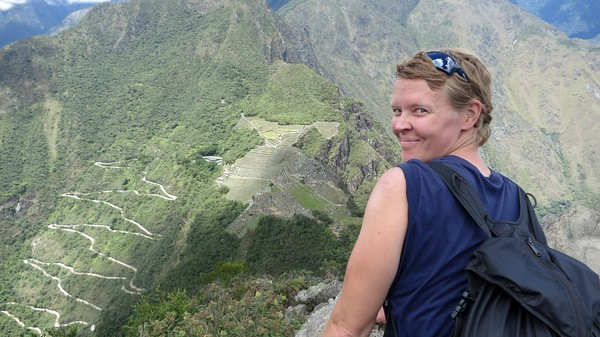 Jill overlooking Machu Picchu from the peak of Huaynu Picchu