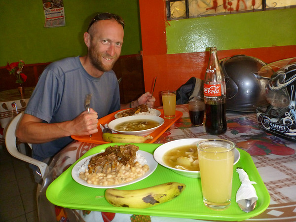 Eating a huge lunch during a break on the Canyon del Pato, Peru
