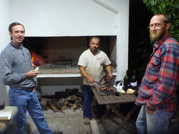 David, Alejandro, and Mike as Alejandro grills up a feast.  (Rocha, Uruguay)