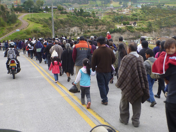 pilgramage procession on the way to Las Lajas cathedral (Ipiales, Colombia)